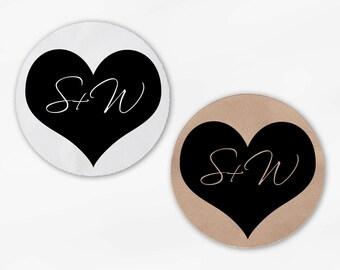 Initials in Heart Wedding Favor Stickers - Black Custom White Or Kraft Round Labels for Bag Seals, Envelopes, Mason Jars (2006)