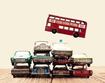 Boy Nursery Decor, Boys Wall art, Car Pile The Red Bus Jump, Photo Print, Boys Room decor, Boys Nursery Prints