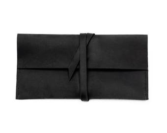 Leather wrap clutch