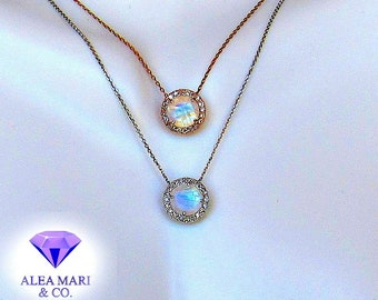 Rainbow Moonstone and Diamond Pendant | In Stock | 14kt Rose, or White Gold
