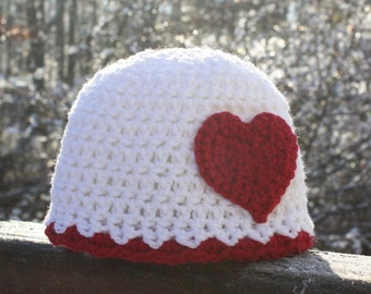Red Heart Hat, Red and White Hat, Crochet Beanie, Baby Hat, Girls, Women, Holiday Gift, Gift, Love Hat, Valentine's Day, Baby Shower Gift