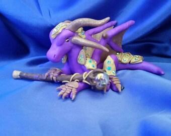 OOAK Purple and Copper Mage Dragon Figurine