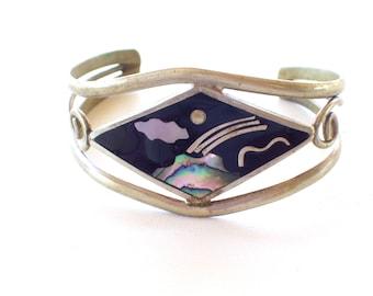 Vintage Mexican Cuff Bracelet, Volcano Cuff, Vintage Night Scene Cuff, Abalone Mother of Pearl Shell Alpaca Cuff Bracelet, Black Onyx Cuff
