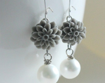 Gray Earrings, Gray Flower Earrings, Gray Wedding Jewelry, Freshwater Pearl Jewelry, Gray Bridesmaid Gift, Pink Gray Wedding, Resin Earrings