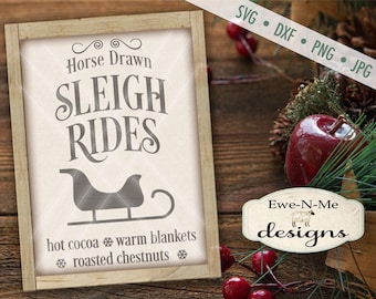 Christmas SVG - Sleigh Ride svg - Winter svg - Sleigh Ride Sign SVG - Sleigh Rides Vertical SVG - Commercial Use svg, dxf, png and jpg