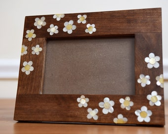 """Picture frame 11"""" X 9"""", Wooden Frames, Carving wood, Photo Frame, Wood frame, Wooden Home Decor, Marquetry wood frame, Mother of pearl frame"""