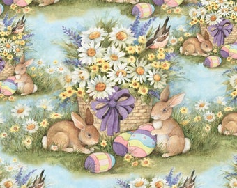 Susan Winget Garden Bunnies Premium Cotton Easter Fabric by the yard and by the half yard