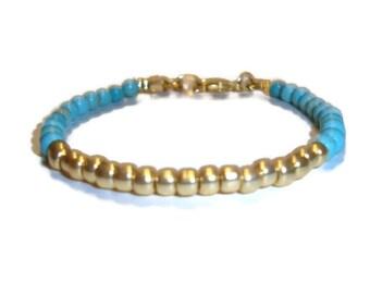 Turquoise and Gold Stacking Bracelet - Turquoise Beads - Gold Beads - BOHO Design - Wear with Other Bracelets - HANDMADE - Bohemian Bracelet
