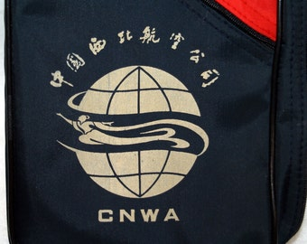 CNWA China North West Airlines Art Deco Style Zippered Make-up Bag