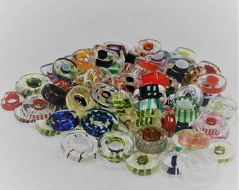 """Artisan -  Large Mixed Designer Furnace Art Glass Slices 1 oz """"Great for Jewelry Making"""" Handblown"""