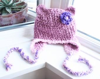 6 to 12m Baby Bear Hat, Flower Earflap Beanie, Crochet Baby Hat, Plum Pink Purple Baby Animal Hat, Girl Flower Hat Photo Prop