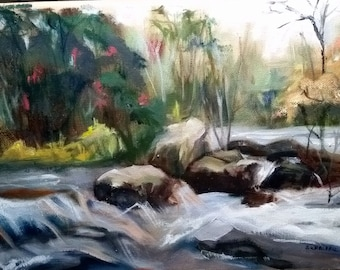 """River Rocks - Original Oil on Canvas by Susan Warchall H9""""XW12"""""""