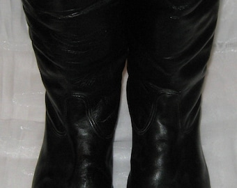 Vintage German Army Officer chrome  Winter Riding Boots size 45 (EU 46, US 12)