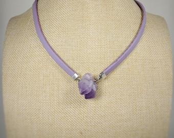 Genuine light purple raw rough Amethyst point quartz leather necklace. Raw amethyst pendant