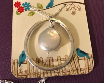 Coin Pearl silver necklace