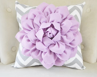 Purple Nursery Flower Pillow Lilac Dahlia on Gray and White Zigzag Pillow -Decorative Chevron Pillow-