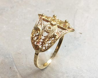 Gold Hamsa ring,  against the evil eye, gold filled ring, brass hand ring, simple ring, dainty ring, statement filigree ring - Call me R2500