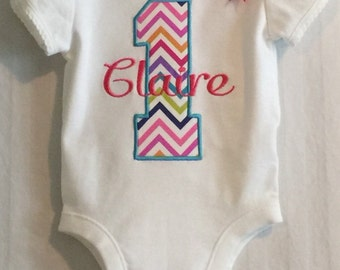 First Birthday tee shirt or bodysuit Monogrammed Chevron - Personalized free - embroidered 1st birthday creeper rainbow number with name bow