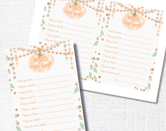 A little pumpkin is on the way Wishes For Baby shower game orange pumpkin wishes for baby advice card instant download DIY digital file