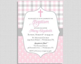 Baptism Invitation, Baby Girl Baptism Invitation,  Pink and Grey, Christian Baptism Invite, Girl Christening, DIY PRINTABLE