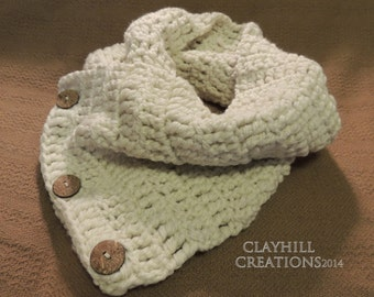 Boston Harbor Scarf - Chunky Crochet Wrap Scarf - Button Scarf - Gifts Under 40