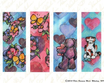 Valentine's Bookmarks - Digital Collage Sheet - Instant Download - Printable Files - Perfect for Crafting - Hearts, Flowers, Teddy Bears