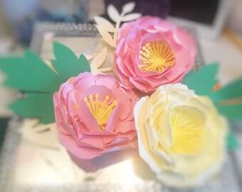 3 medium peony paper flower decor backdrop wedding, baby shower,event decoration