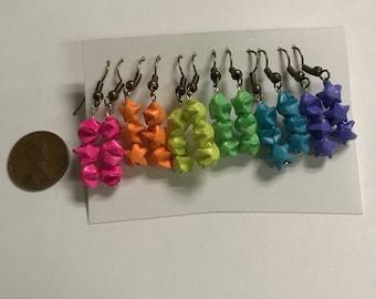 Set of seven handmade origami earrings
