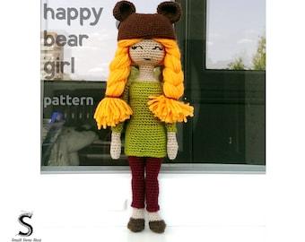 Happy Bear Girl Crochet Pattern | Crochet Doll Pattern | Doll Crochet Pattern | Amigurumi Pattern |  Amigurumi Doll | Doll Amigurumi Patter