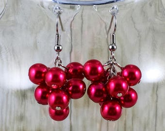 Red Earrings | Red Pearl Earrings | Red Pearl Cluster Earrings | Matching Bracelet in Shop | Gift for Her Under 25 Dollars | Gift for Mom