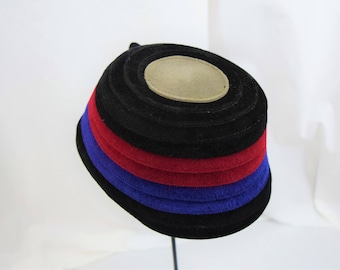 Vintage 1940s 1950s black, royal blue, cherry red and gray hat