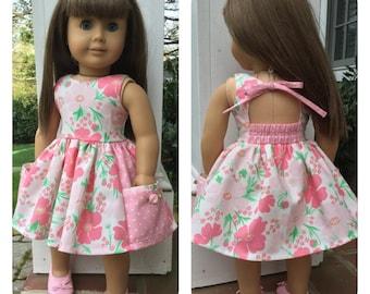 "Girl doll dress, Pretty back, 18"" doll dress, Garden party dress, Summer dress 18"" doll, Pocket dress, Fits like America Girl doll clothes"