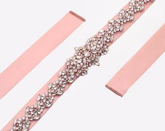 Long Flora Rhinestone Crystal Bridal Sash / Wedding Sash/ Bridal Belt