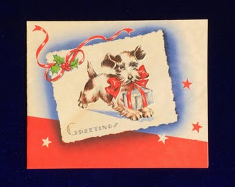 1930's Wire Fox Terrier Dog & Gift Christmas Card