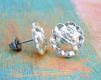 Silver Rose post earrings