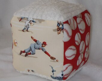 Red Baseball Fabric and Chenille Fabric Block Rattle Toy - SALE