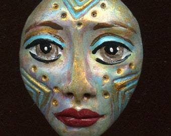 Polymer Clay One of a Kind  Spirit Doll Abstract Textured  Face Cab   Un Drilled BTRB 1