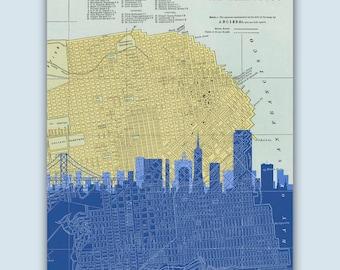 San Francisco Print, San Francisco Decor, San Francisco Art, San Francisco Poster, San Francisco Map, California Art, California Decor