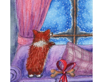 Pembroke Welsh corgi dog pup puppy 8x10 inch art print sable from a Susan Alison painting watching snow fall Christmas Eve staring at storm