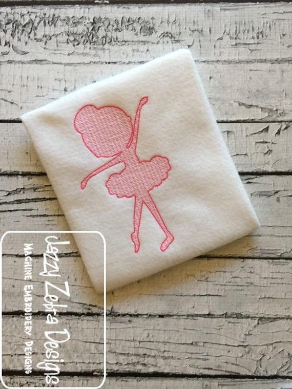 Ballerina 2 motif filled embroidery design - ballerina embroidery design - ballet embroidery design - dance embroidery design - girl