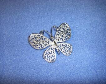 Signed JJ Butterfly Brooch - pierced metal silvertone brooch