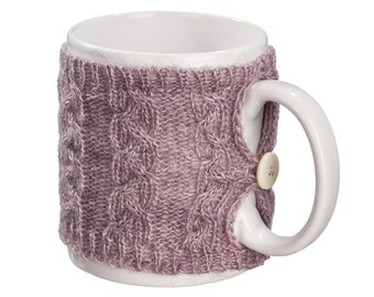 Knit Tea Cup Cozy, Coffee Mug Cozy, Knit Cup Sweater, Reusable Coffee Sleeve Hand Protector, Drink Grip, Lavender, FREE SHIPPING