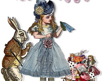 Alice in Wonderland paper doll collage