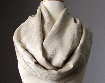 Silky fall/spring scarf in Buff, beige Infinity scarf, light tan scarf, pashmina, neutral, rose scarf, nude scarf