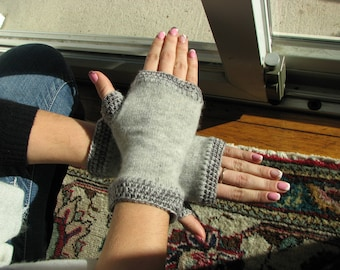 Cashmere gloves - fingerless - arm warmers - wrist warmers - typing gloves