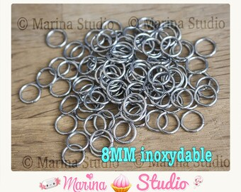 50 rings 8mm stainless steel rings opened AA8