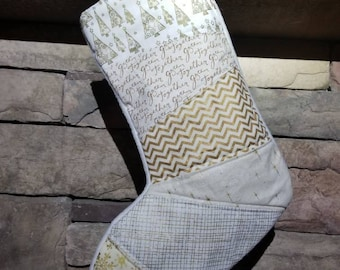 Gold and Ivory Christmas Stocking RTS  Stocking OOAK Patchwork Christmas Stocking Gold Christmas Stocking #7 Quilted Stocking