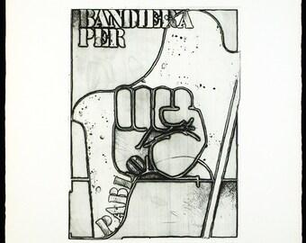 Bandiera per Pablo, 1973. Aquatint by Giò POMODORO