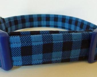 "Blue Buffalo Plaid Dog Collar - Boy Dog Collar - Black & Blue Lumberjack Mini Buffalo Plaid Collar - ""Bailey"" - Free Colored Buck"