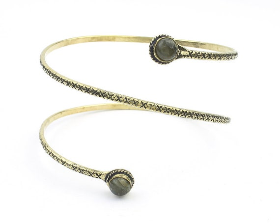 Labradorite Arm Cuff, Spiral Upper Arm Band, Wire Wrap Armlet, Festival, Gypsy, Boho, Bohemian, Belly Dancer Jewelry, Hippie